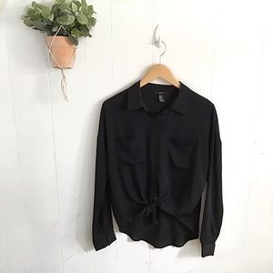 Forever 21 Black Sheer Button Up Top!